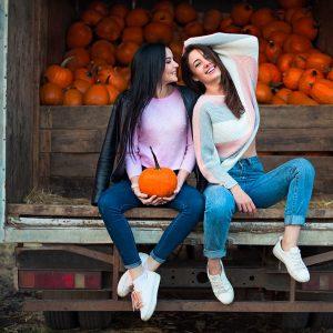 Pumpkin Enzyme Facial Girls with Pumpkins