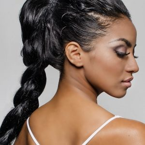 Cheek and Jawline Contour Beautiful,Woman's,Face,In,Profile,,Hair,Braided;,Isolated,Against,Light