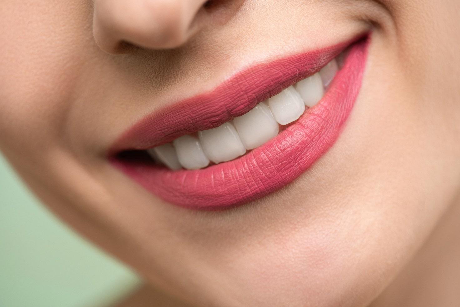 Pink lipstick lips