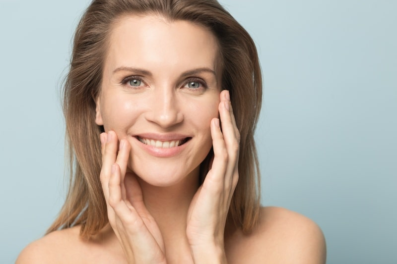 Middleaged woman with clean, fresh face