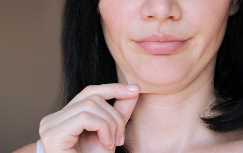Woman with a double chin
